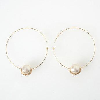 ★ コットンパール フープ ピアス イヤリング Cotton Pearl Hoop Pierce Earring (Liala) 全2種 【1】