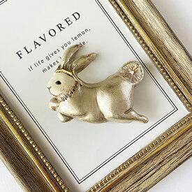 ブローチ おしゃれ レディース 大きめブローチ うさぎの王様 陶器 シンプル かわいい 兎 ウサギ rabbit 動物 プレゼント ギフト