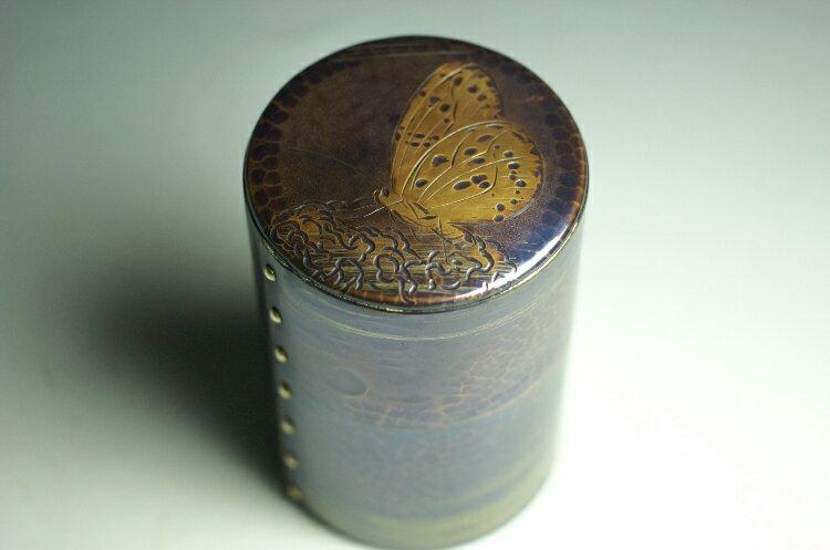茶筒 風紋 彫金 蝶文 六半斤  茶器【工芸ギフト】