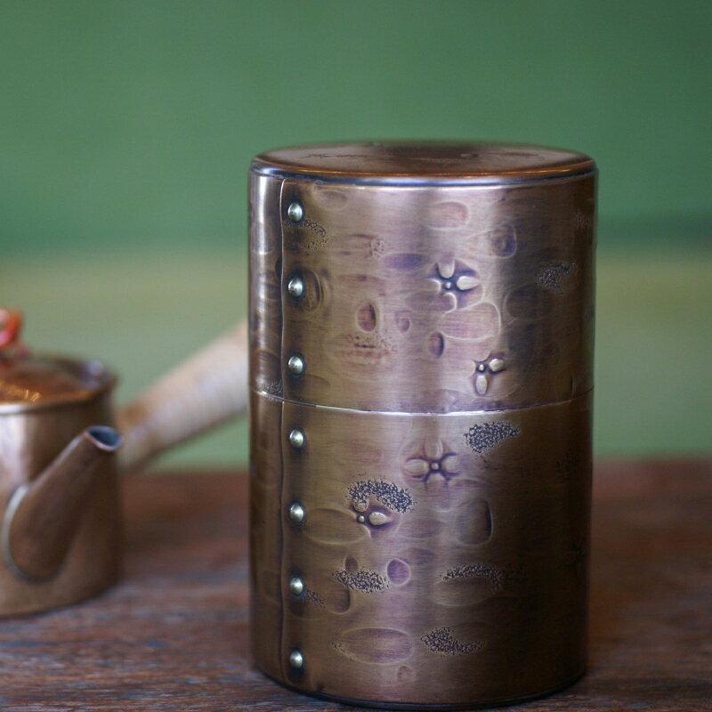 手づくり銅器 茶筒 生地色六半 茶器【工芸ギフト】【引出物御祝記念品】