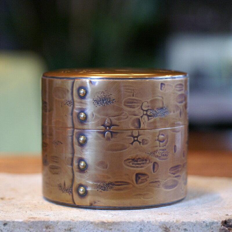 手づくり銅器 茶筒 生地色 平形 六半斤 茶器【工芸ギフト】【引出物御祝記念品】
