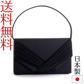 日本製ブラックフォーマルバッグ bk2クロスドレーププチ 2wayクラッチバッグ 冠婚葬祭 黒