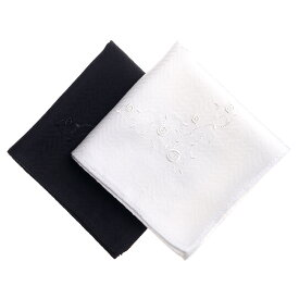 ブライダルハンカチ 花嫁 ローズガーランド刺繍 フォーマルハンカチ 婦人 結婚式 ウェディングドレス 新婦 挙式 ブラックフォーマル 女性 白 黒 ホワイト