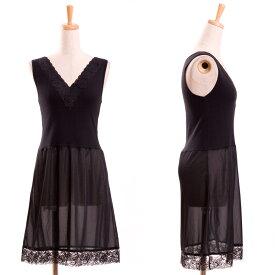 【メール便送料無料】日本製レース付きラン型スリップインナー 礼服 ドレス ブラックフォーマル 冠婚葬祭