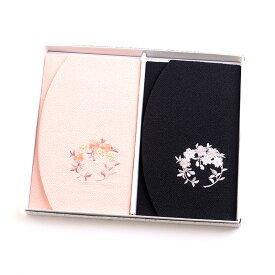 ちりめん桜刺繍ふくさ 2枚セット 紙箱入 慶弔両用袱紗 結婚式 冠婚葬祭 男性用 女性用 日本製 結婚式 かわいい
