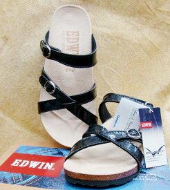 【靴】レディース EDWIN クロスサンダル 22.0cm ブラック 黒