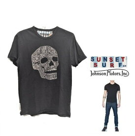 【 ジョンソン・モーターズ 】半袖 LOGO T-ShirtsSUNSET SURF・シリーズ『 SURF OR DIE 』サーフアートcolor【 BLACK 】ブラック