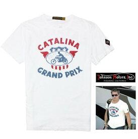 Johnson Motors【 ジョンソンモータース 】半袖T-Shirts『 CATALINA GP 』カタリナ・グランプリバイカー Safari ロゴTeecolor【 DRY WHITE 】オフホワイト