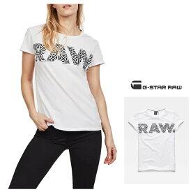 G-STAR RAW【 ジースター ロウ 】Oluva T-ShirtBIG-RAWロゴ 半袖 クルーネックTシャツcolor【 White/Sartho Blue 】ホワイト×ネイビー
