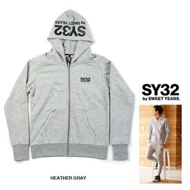 SY32 by SWEET YEARS【 スィートイヤーズ 】REGULAR ZIP HOODIEフード BIGロゴ・ZIPパーカーcolor:【 HEATHER GRAY 】グレー