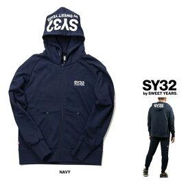 SY32 by SWEET YEARS【 スィートイヤーズ 】TNS1703-2 NV REGULAR ZIP HOODIEフード BIGロゴ・ZIPパーカーcolor:【 NAVY 】ネイビー