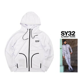 SY32 by SWEET YEARS【 スィートイヤーズ 】【GEAR】ACTIVE ZIPHOODIEフード BIGロゴ・ZIPパーカーcolor:【 WHITE 】ホワイト