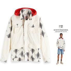 SCOTCH&SODA 【 スコッチ&ソーダ 】【 Nylon Field Jacket 】プリント・ジップ・スタンドフーデット・ナイロン・ジャケットcolor:【 WHITE 】ホワイト