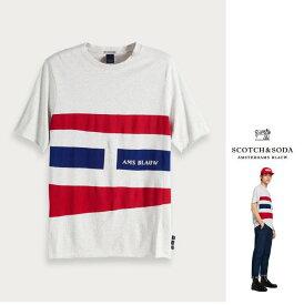 SCOTCH&SODA【 スコッチ&ソーダ 】150547 Raw-Edge T-Shirt OVERカラープリント アート・クルーネック・ビック・Tシャツcolor:【 GREY 】グレー