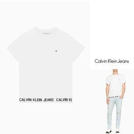 Calvin Klein JEANS【 カルバンクライン・ジーンズ 】INSTITUTIONAL LOGO BAND SWEATSHIRT胸&裾・ロゴ・クルー・半袖・トレーナーcolor:【 WHITE 】ホワイト