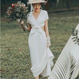 (今なら1,000円OFFクーポン使えます♪) ウエディングドレス スレンダー リボン セパレート フェミニン 前撮り 結婚式 披露宴 二次会 フォトウエディング ハネムーンフォト ハーフセパレート フィッシュテール 花嫁 ドレス