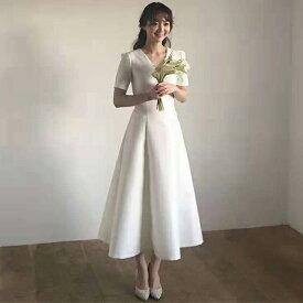 (今なら1,000円OFFクーポン使えます♪) ウェディングドレス 花嫁 2次会 ミモレ丈 前撮り ハネムーン ドレス 挙式 レース エレガント 大人 可愛い クラシック  結婚式 後撮り 海外 フォトウエディング ミモレ丈ドレス