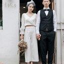 【Sサイズ 即納可】ウェディングドレス 2次会 (結婚式/撮影) パンツドレス ハネムーン 前撮り 結婚式 セパレート ドレス セパレートドレス 袖付き 花嫁 袖あり Vネック フォト 海外 S M L XL 大人 おしゃれ