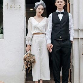 (今なら1,000円OFFクーポン使えます♪) 【Sサイズ 即納可】ウェディングドレス 2次会 (結婚式/撮影) パンツドレス ハネムーン 前撮り 結婚式 セパレート ドレス セパレートドレス 袖付き 花嫁 袖あり Vネック フォト 海外 S M L XL 大