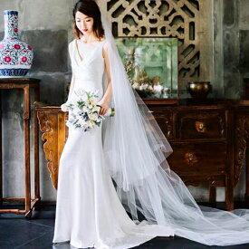 (今なら1,000円OFFクーポン使えます♪) ウェディングドレス スリット ロング フィッシュテール 大人 海外 リゾート 結婚式 花嫁 2次会 エンパイアドレス 可愛い 20代 30代 40代 マタニティ 妊婦ドレス