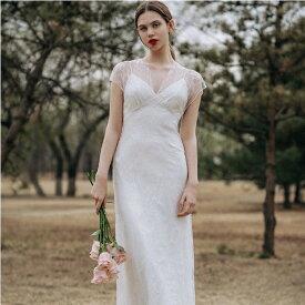 ウェディングドレス ウエディングドレス 結婚式 2次会 花嫁 ドレス レース 可愛い かわいい マーメード スレンダーライン エンパイアドレス フォト 海外 ハネムーン