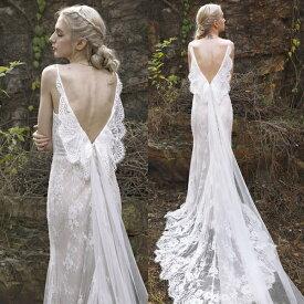 (今なら1,000円OFFクーポン使えます♪) 天使の羽 エンジェル ウエディングドレス 二次会 ノースリーブ ナチュラル フェミニン 前撮り 結婚式 披露宴 二次会 フォトウエディング ハネムーンフォト レース おしゃれ バックレス