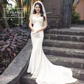 (今なら1,000円OFFクーポン使えます♪) ウェディングドレス  マーメードドレス 撮影 挙式 結婚式 花嫁 ドレス 2次会  S M L ビーチ ハネムーン