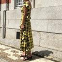 【送料無料】 ドレス ワンショルダー ギンガムチェック フリル 【orubia オルビア】