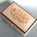 【お名入れサービス】30弁高級イタリア象嵌宝石箱 薄いピンク(花のデザイン)オルゴール お取り寄せ【クリスマスプレゼント】