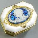 ラメ入りカメオ 8角形オルゴール宝石箱(ブルー) ♪ノクターン プレゼント