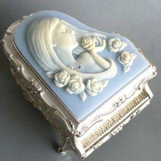 ピアノ型カメオ付き宝石箱(女性)ブルー/ノクターン