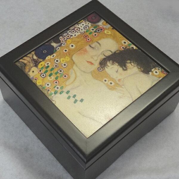 333曲以上から選べる! 宝石箱オルゴール(正方形) 子供を抱く母 クリムト  ≪18弁曲目選択オルゴール≫【クリスマス オルゴール 誕生日】 プレゼント