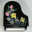 333曲以上から選べる! トールペイントピアノ型オルゴール(黒・水仙) 小物入れ 【18弁曲目選択オルゴール】 プレゼント