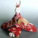 うさぎ着物人形オルゴール(ちりめん 凛香 /赤系: ♪花) プレゼント