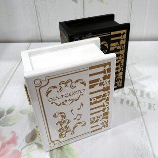 333曲以上から選べる!ブック型ミニケース(音楽柄リング指し)宝石箱記念品に最適≪18弁曲目選択オルゴール≫プレゼント