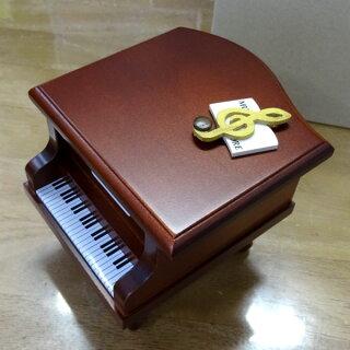 333曲以上から選べる!ミニピアノ型オルゴール(こげ茶)ト音記号音符の飾り≪18弁曲目選択オルゴール≫プレゼント