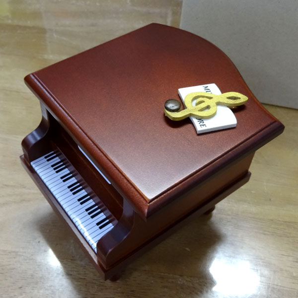 333曲以上から選べる! ミニピアノ型オルゴール(こげ茶)ト音記号 音符の飾り ≪18弁曲目選択オルゴール≫ プレゼント