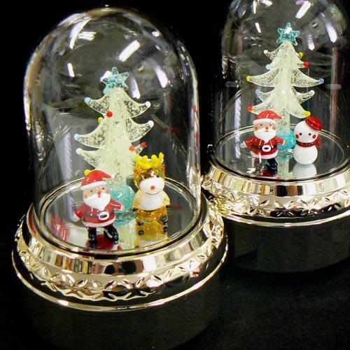 クリスマスドームLEDライト付き人形ガラス回転オルゴール(サンタと雪だるまORトナカイ)クリスマスオルゴール