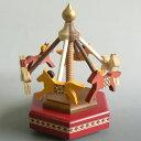 夢の木工房 木製メリーゴーランド オルゴール (大/赤/♪星に願いを) プレゼント