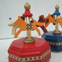 夢の木工房 木製メリーゴーランドオルゴール (小/赤/♪星に願いを)八角形台座 プレゼント