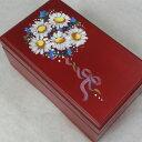 333曲以上から選べる! トールペイント宝石箱(ワイン/マーガレットの花束)オルゴール 【18弁曲目選択オルゴール】 ♪  プレゼント …