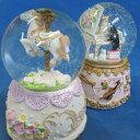 スノードーム(ウォーターグローブ)オルゴール レジン製 ガラスドーム 2種類 プレゼントオルゴール
