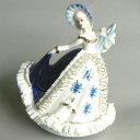 333曲以上から選べる! 陶製 レース人形オルゴール ( ブルー/花かご) ≪18弁曲目選択オルゴール≫ プレゼント