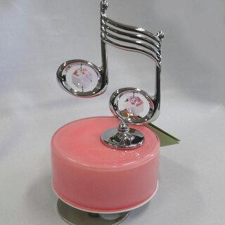 スワロフスキー/クリスタル回転オルゴール音符ピンク丸台