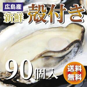 広島産 殻付き 牡蠣 (かき)90個入り 1斗缶【送料無料】