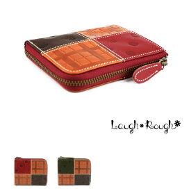 【送料無料】イタリア産レザー 極小財布 L字ファスナー ショートウォレット 水玉ドット チェック Laugh Rough ラフラフ