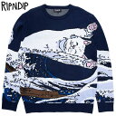リップンディップ RIPNDIP GREAT WAVE SWEATER(ネイビー NAVY)リップンディップニット RIPNDIPニット セーター リップンディップ長袖 …