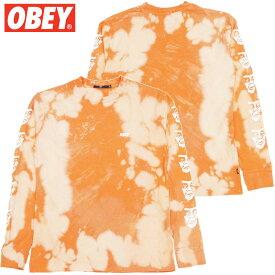 オベイ OBEY THE CREEPER BLEACH TIE DYE LONGSLEEVE TEE(オレンジ ORANGE)オベイロンT OBEYロンT オベイロングTシャツ OBEYロングTシャツ オベイ長袖 OBEY長袖