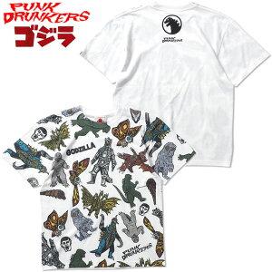 パンクドランカーズ PUNK DRUNKERS PDS x GODZILLA ゴジラ総柄TEE'21(ホワイト 白 WHITE)パンクドランカーズTシャツ PUNK DRUNKERSTシャツ パンクドランカーズ半袖 PUNK DRUNKERS半袖 ゴジラコラボ