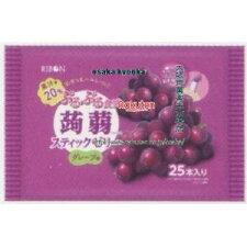 リボン25本ぷるぷる食感蒟蒻スティックゼリーグレープ味(25本)×12個